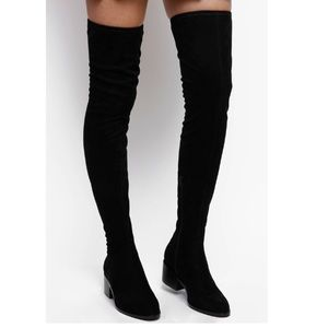 Steve Madden over the knee boots black leather 10
